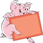 pig with a board