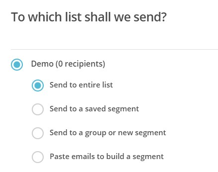 select recipients for RSS in mailchimp