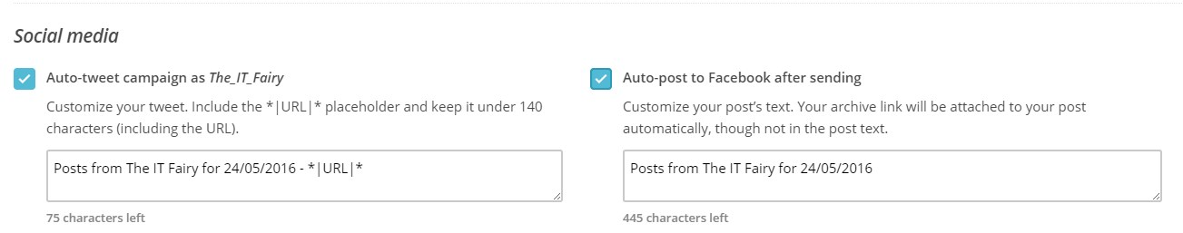 linking your mailchimp campaign to your social media accounts in mailchimp