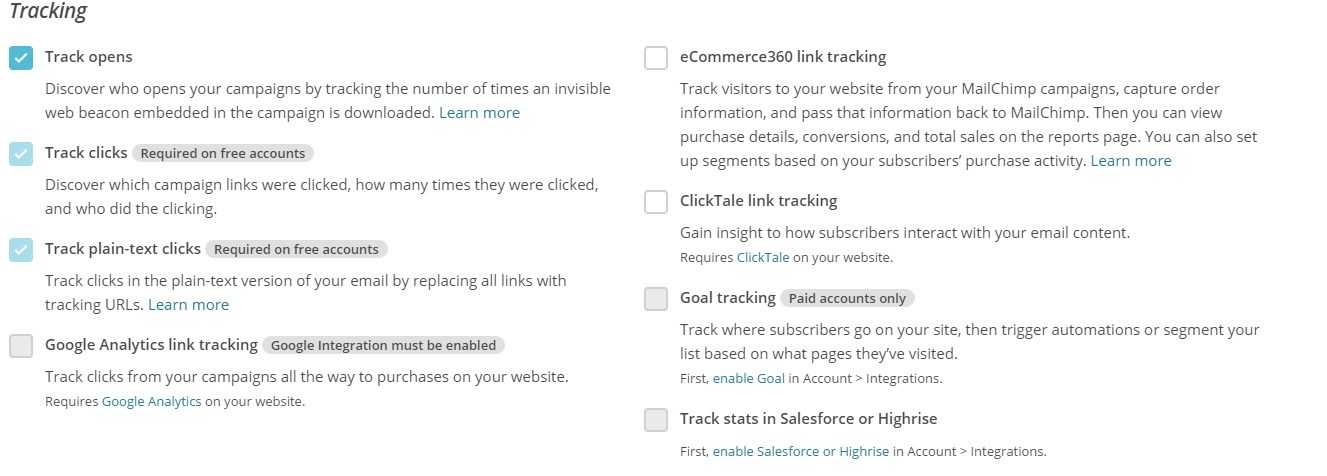 tracking your mailchimp campaign