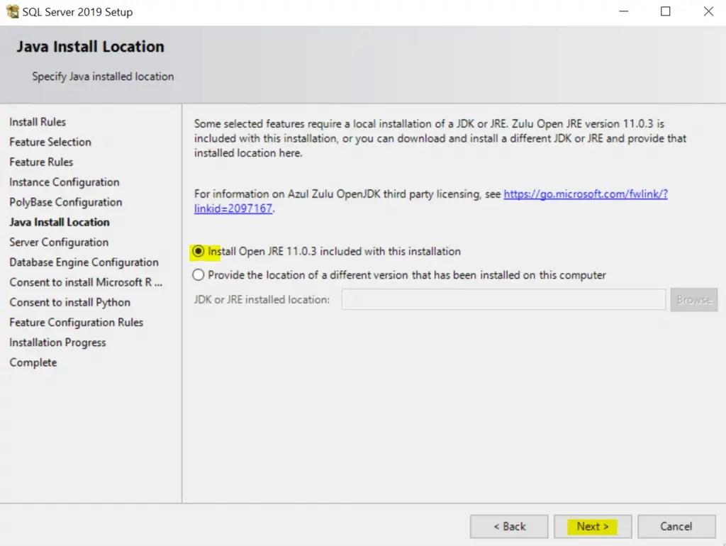SQL Server 2019 Setup Java Install Location