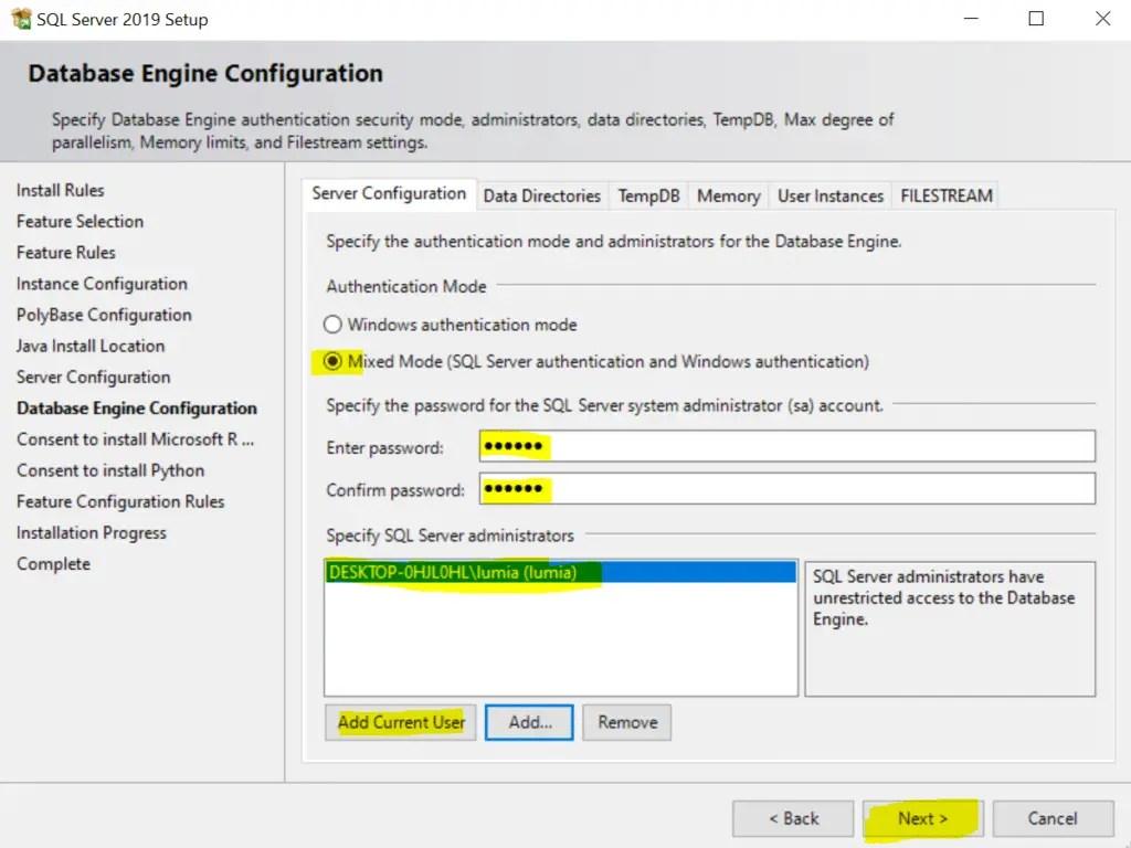 SQL Server 2019 Setup Database Engine Configuration
