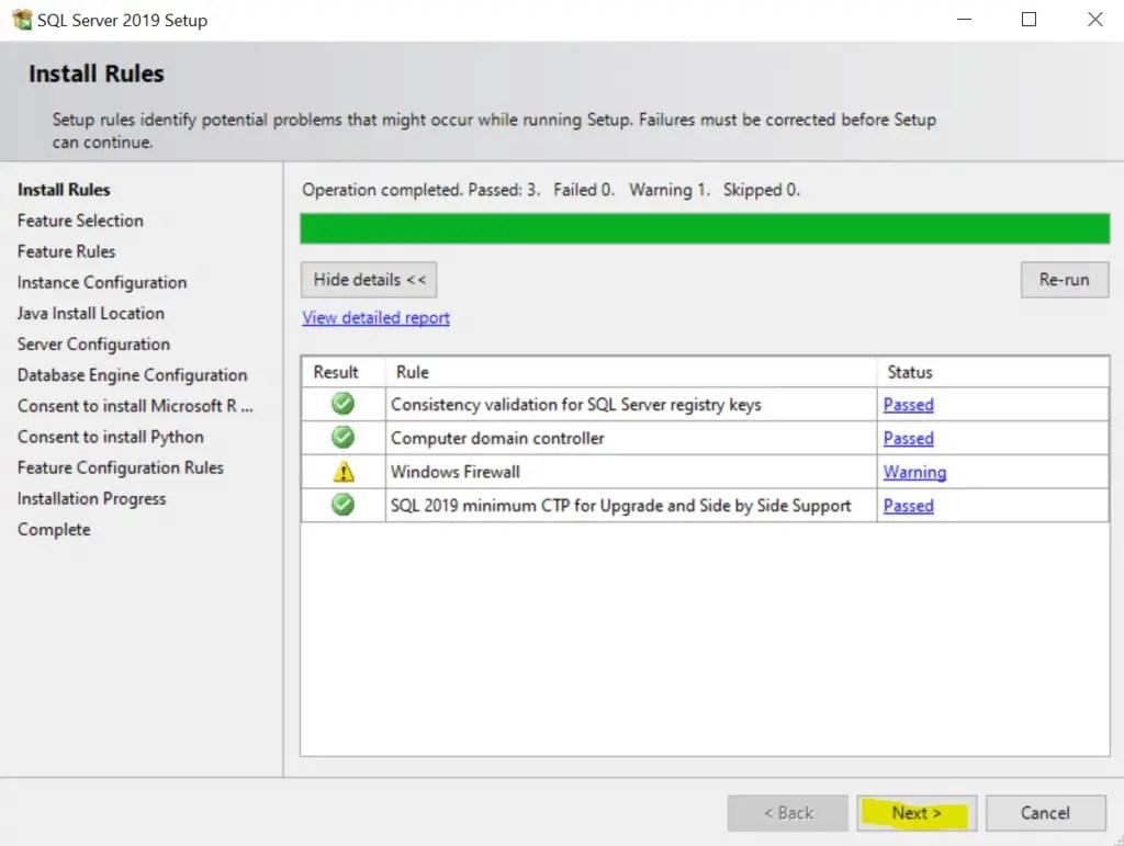 SQL Server 2019 Setup Install Rules