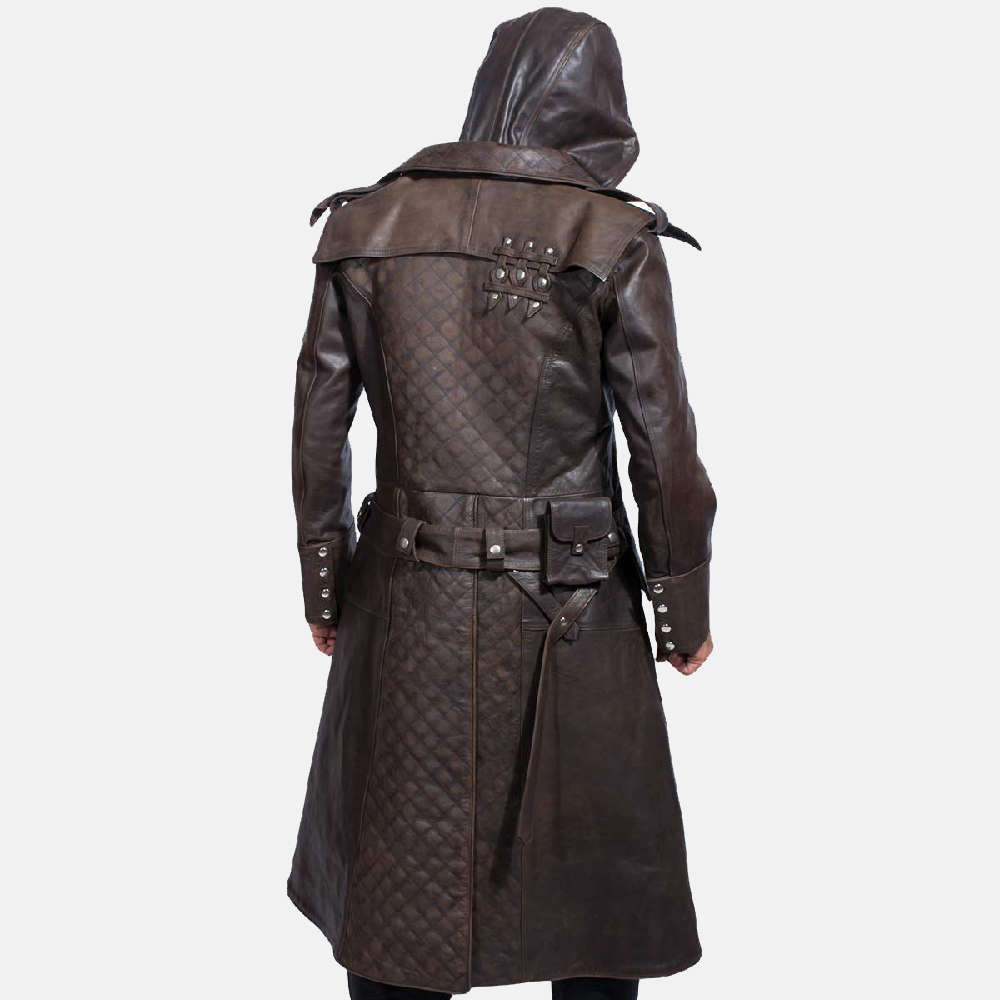 Mens Sledgehammer Brown Leather Trench Coat 4