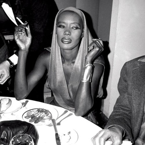 Grace Jones at the dinner party in her honour at Les Tuleries. April 5, 1986 © Patrick McMullan
