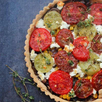 Mushroom, Corn and Heirloom Tomato Savory Tart