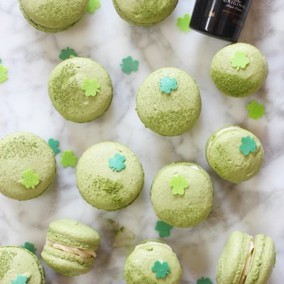 Matcha Macarons with Bailey's Irish Cream Buttercream filling