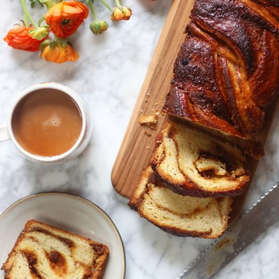 Orange and Cardamom Babka with a Pistachio Praline and Orange/Cardamom Marmalade