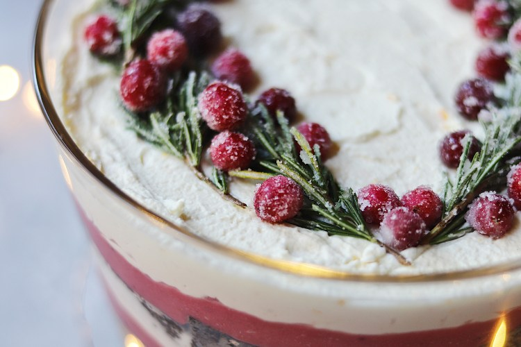 Gingerbread Trifle with Cranberry Curd, Whipped Mascarpone Cream and Sugared Cranberries