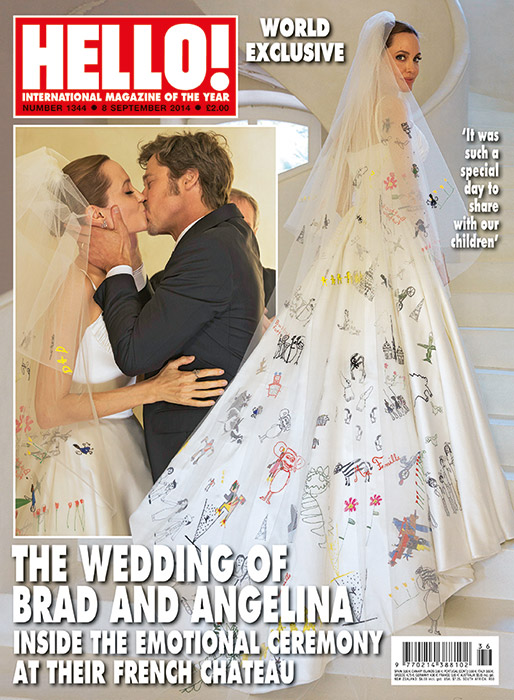 , First Look: Angelina Jolie Let Her Kids Decorate Her Versace Wedding Gown [Photos]