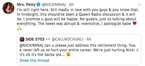 Image result for Nicki Minaj apologises for retirement tweet