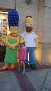 My daughter with Homer and Marge