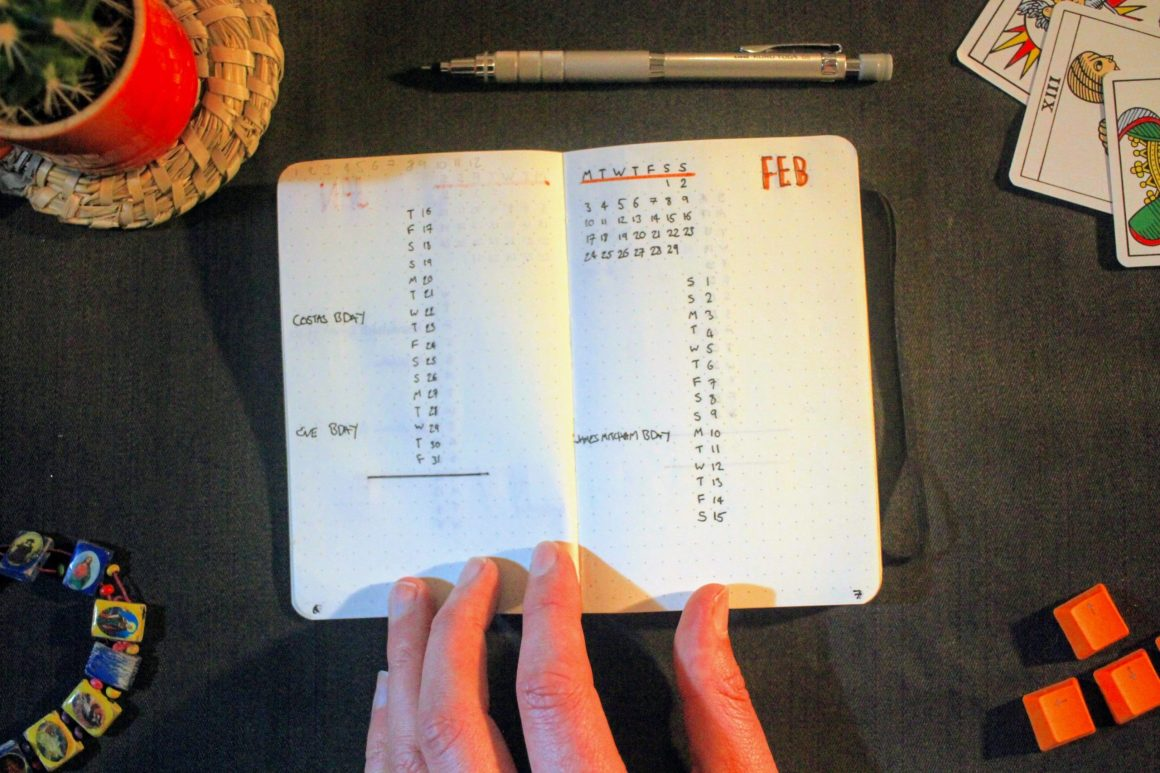 Pocket Bullet Journal Month Log