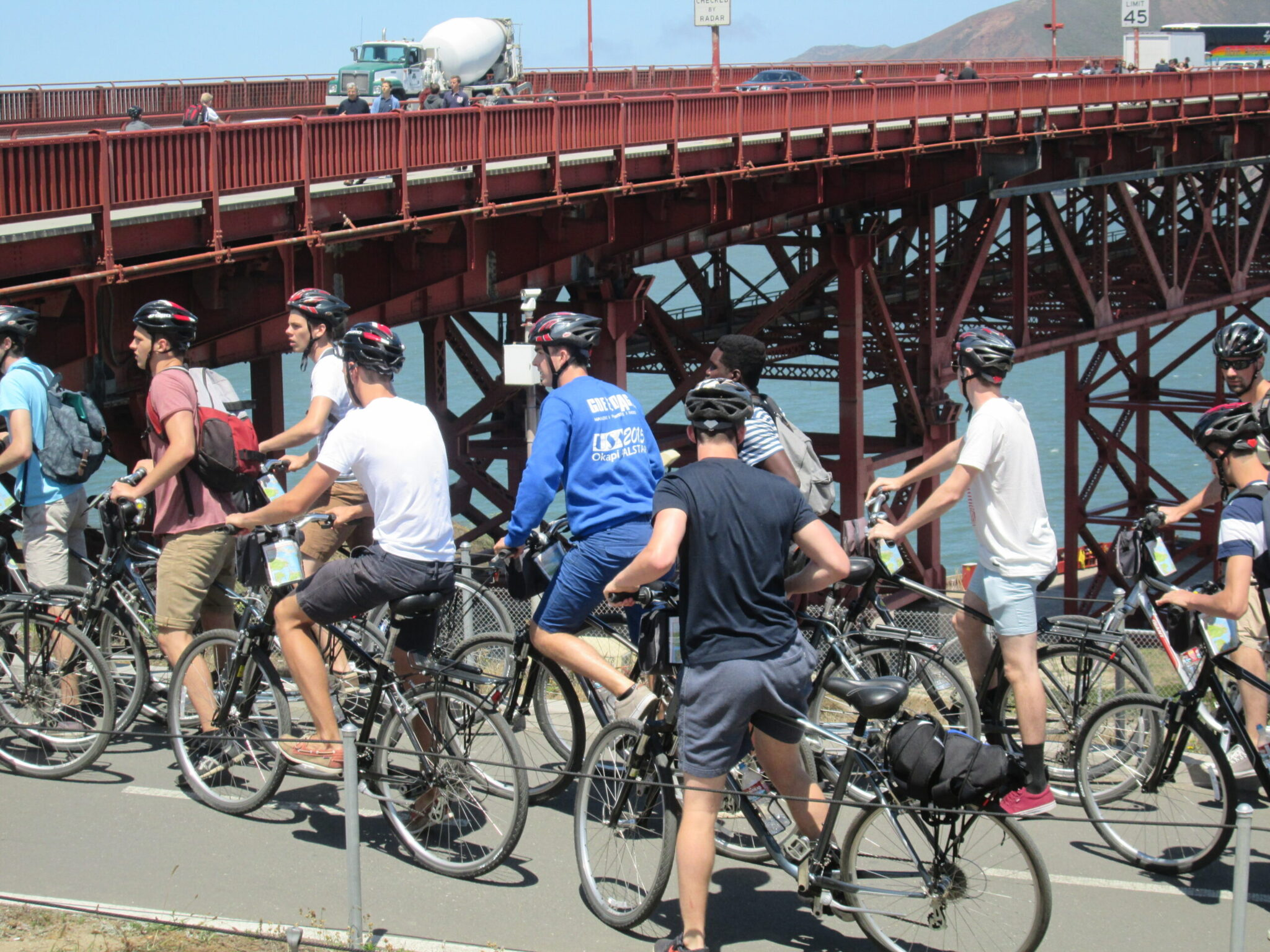 Bikers on the golden gate bridge