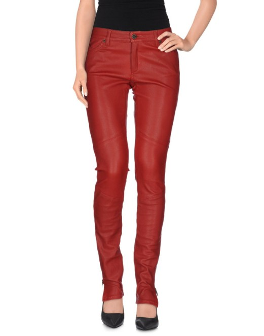 Superfine Red Leather Pants