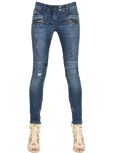 af709e0b4634c balmain-moto-jeans-2. Balmain Destroyed Skinny Biker Jeans