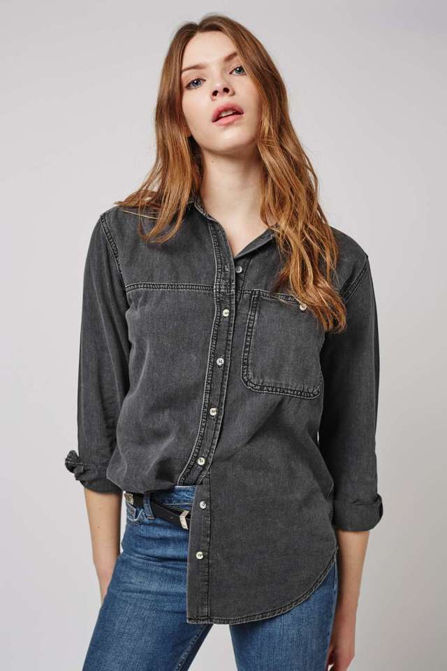 topshop black denim shirt