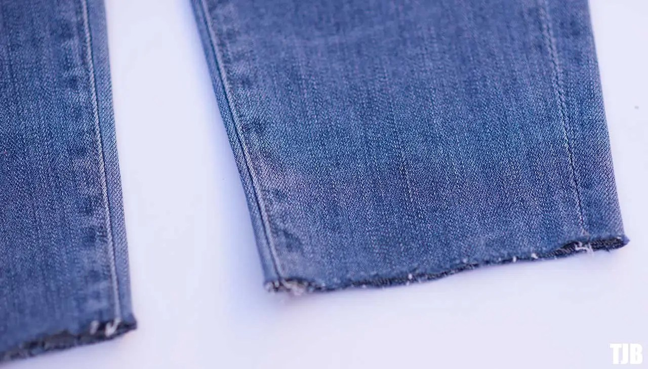 DIY Raw Hem Edge Chopped Hem How To Jeans 4