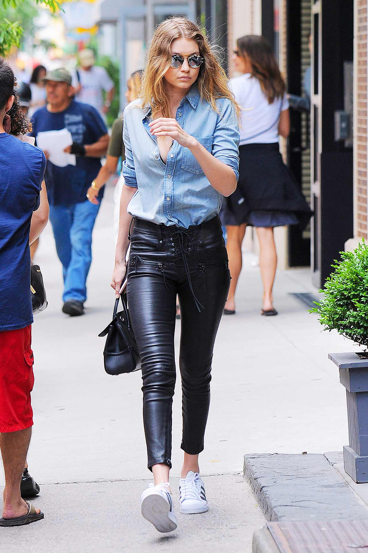 gigi-hadid-unravel-lace-up-leather-pants-mother-denim-shirt