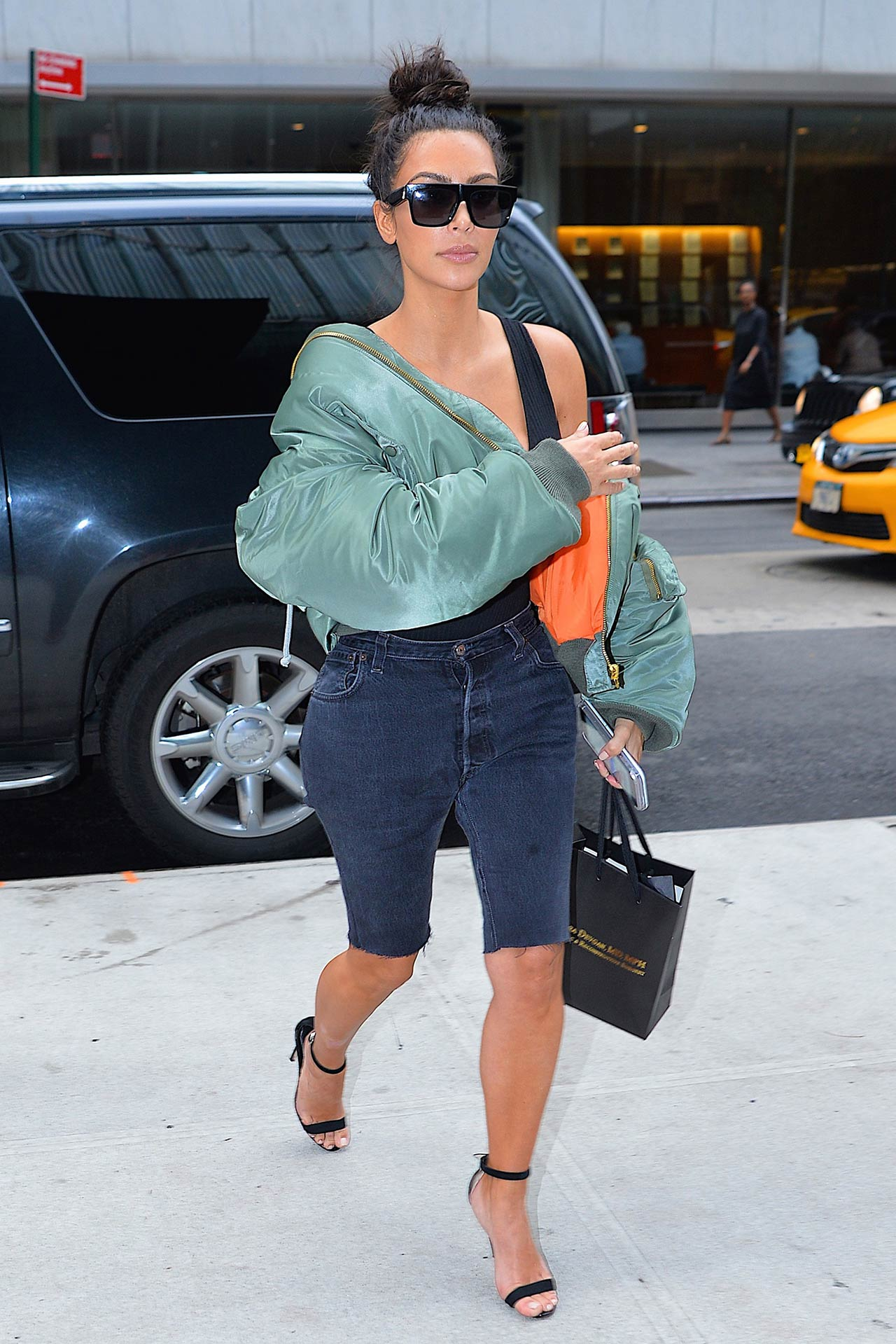 841d69e149 Kim Kardashian Wears Custom Levi s Denim Shorts