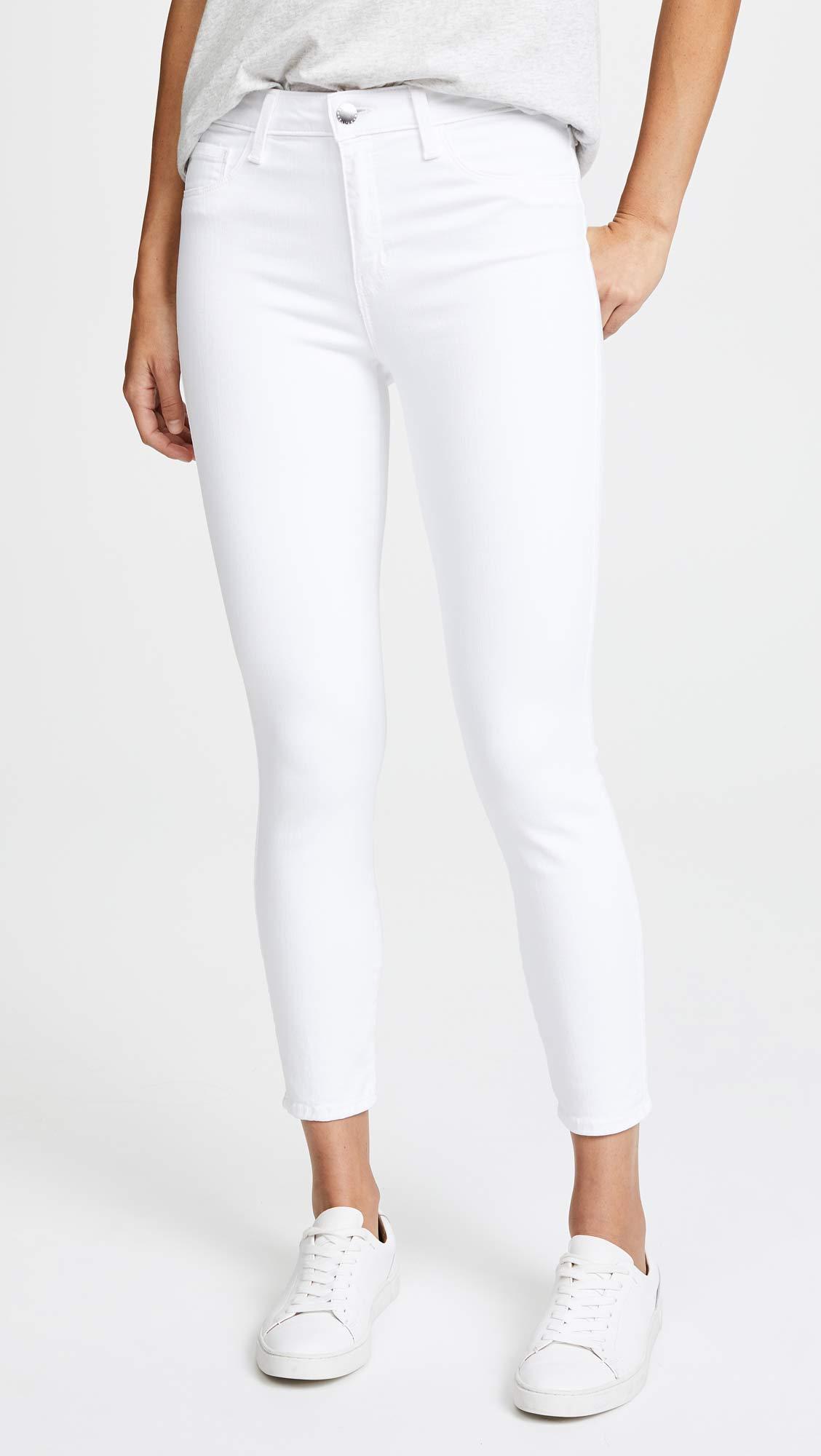 Bebe Lattice Skinny Jeans in White - Lyst