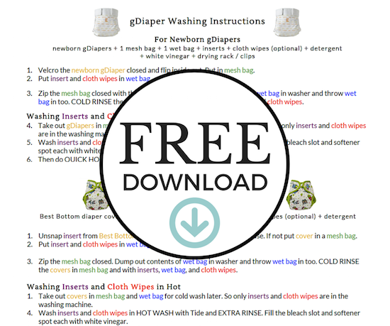 Download FREE Diaper Washing Printables.