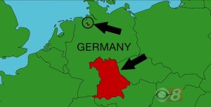 A map of Germany, as used during Final Jeopardy on November 27, 2017