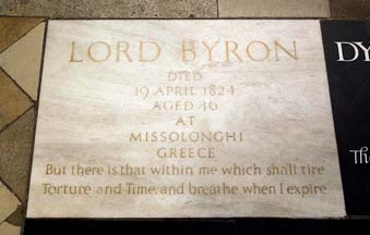 Lord Byron's commemorative stone at Poet's Corner, Westminster Abbey, part of Final Jeopardy on November 8, 2017.
