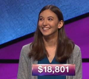 Steph Bundy, today's Jeopardy! winner (for the January 3, 2018 episode.)