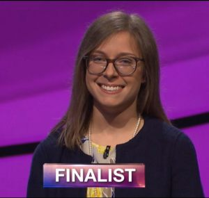 Claire Bishop, today's Jeopardy! winner (for the September 4, 2018 episode.)