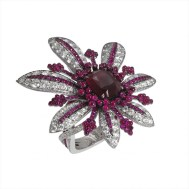 La Divine Ring with Diamonds and Rubies
