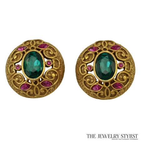 Brilliant Green and Pink Rhinestone Earrings with Gold-Toned Filigree