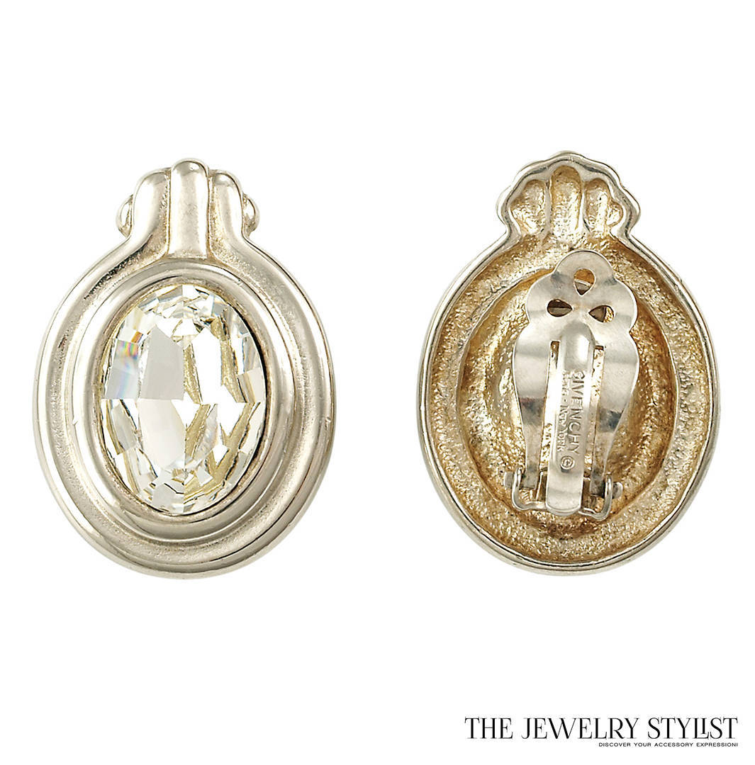Givenchy Silvertone Rhinestone Earrings Mark And Back View