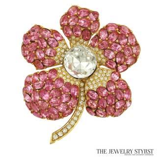 Stunning Ciner Pink Rhinestone Flower Brooch