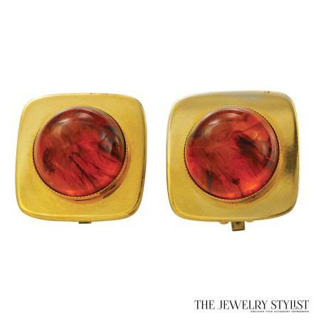 Y.S.L. Faux Tortoise-Shell Square-Shape Earrings