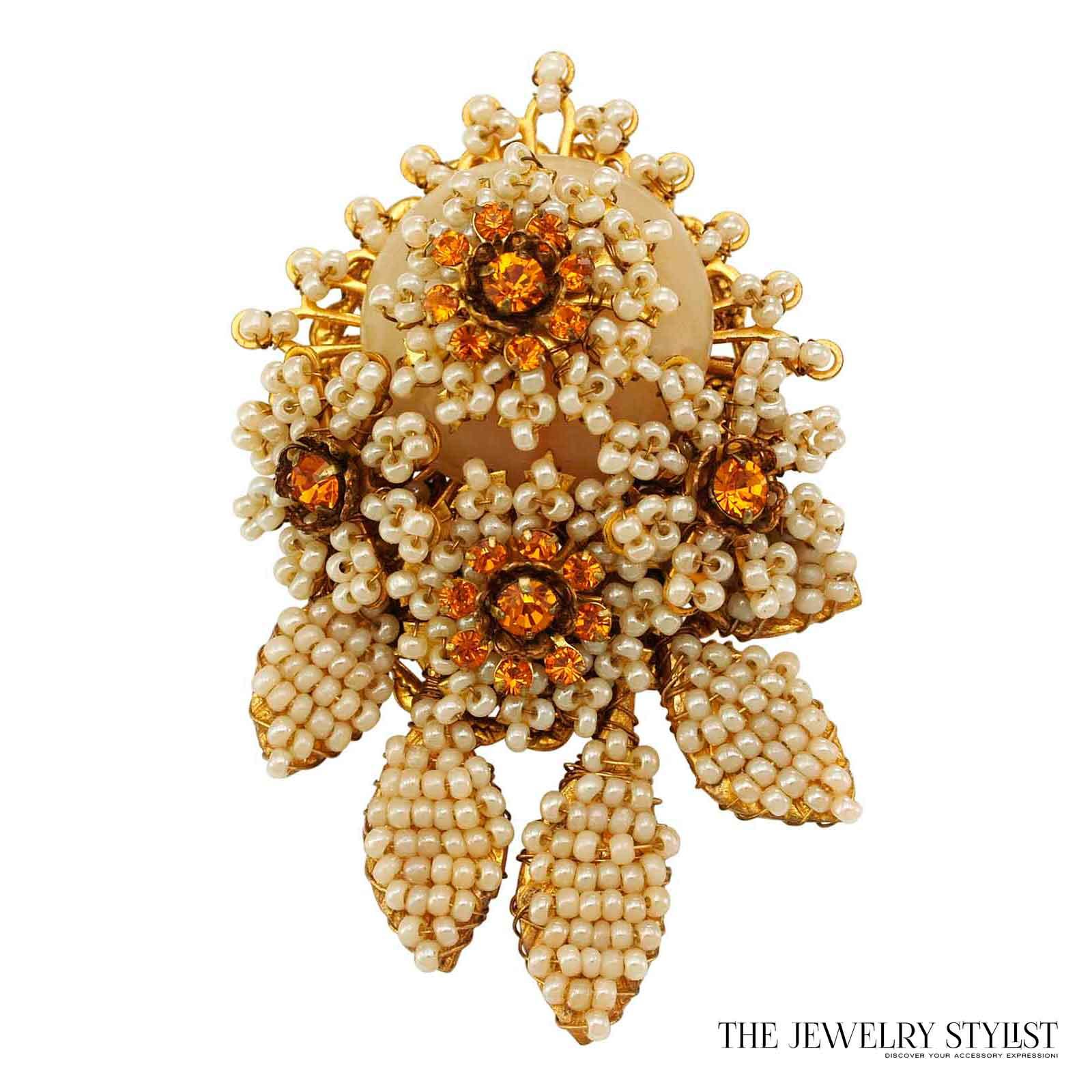 Brooch Beads: Vintage Stanley Hagler Floral Style Seed Bead Set