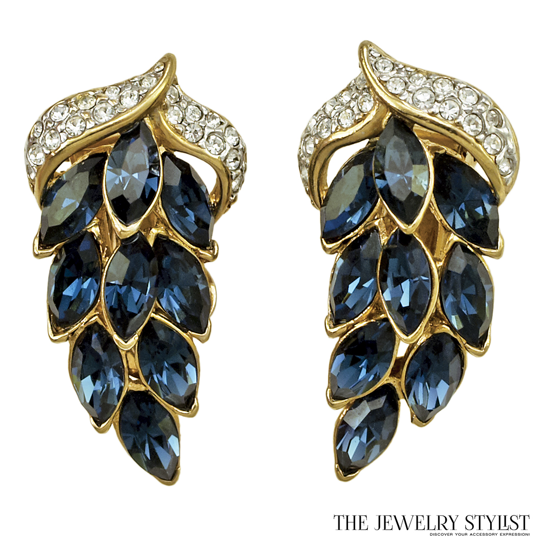 Gorgeous Vintage Shappire Rhinestone Earrings