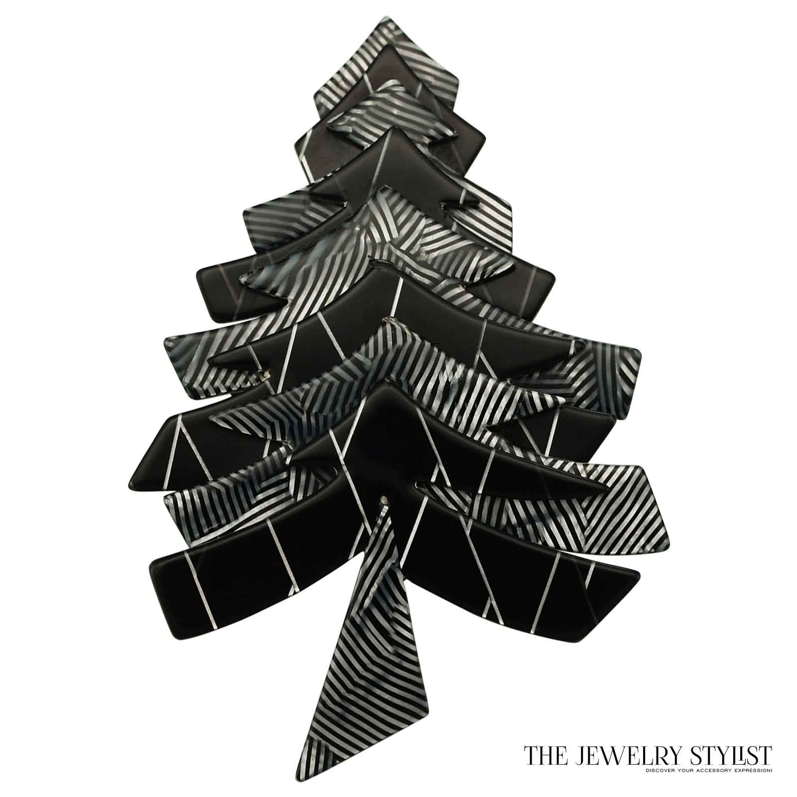 black and white lea stein limited edition christmas tree pin. Black Bedroom Furniture Sets. Home Design Ideas