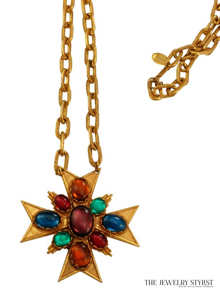 Miriam Haskell Maltese Cross Pendant Necklace