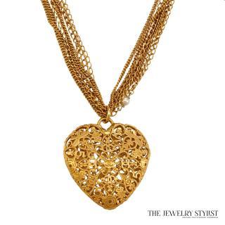 Vintage Chanel Heart Pendant Necklace