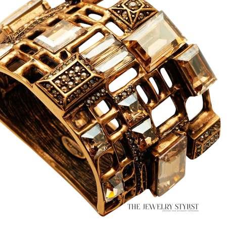 Oscar de la Renta Crystal Hinged Bangle Bracelet