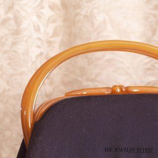 1940s Bakelite and Wool Lewis Handbag