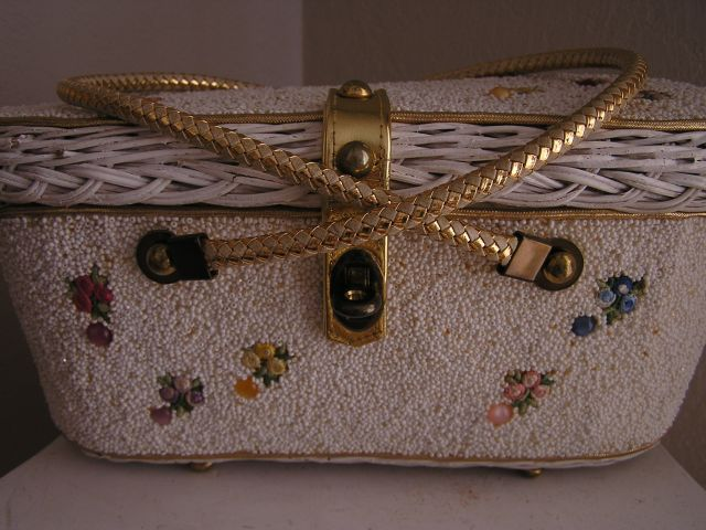 1950s Midas of Miami Vintage Beaded Box Purse Front View