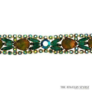 Emerald Green Rhinestone and Variegated Molded Glass Bracelet
