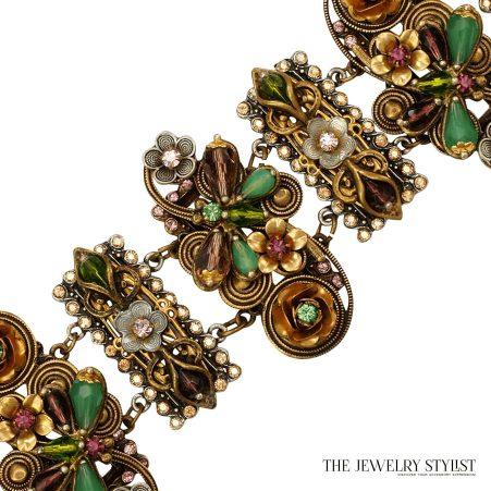 Vintage Sweet Romance Floral Motif Wide Link Bracelet