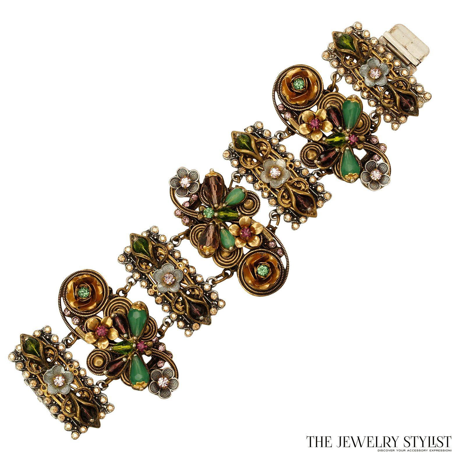 vintage sweet romance floral motif wide link bracelet. Black Bedroom Furniture Sets. Home Design Ideas