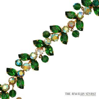 Vintage Austrian Green Rhinestone and Crystal Bracelet