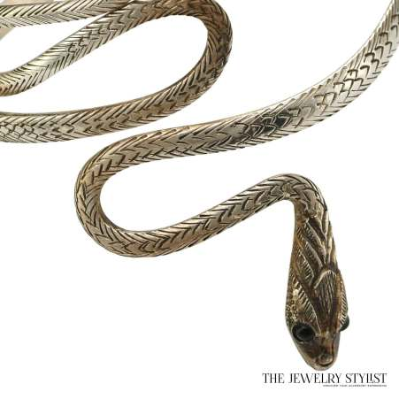 Sterling Upper Arm Coiled Snake Bracelet