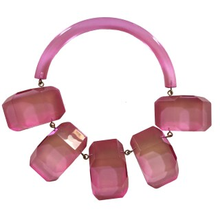 Rare 1980s Hot PInk Judith Hendler Multi-plaque Collar Necklace