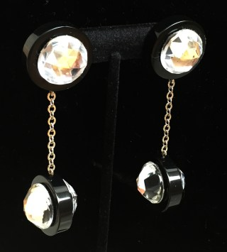Dramatic Judith Hendler Black Acrylic and Crystal Drop Earrings